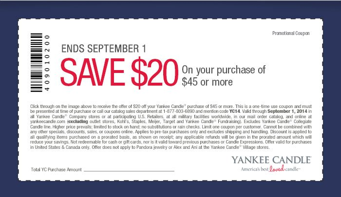 Yankee Candle 20 Off 45 Printable Coupon High Value